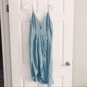 Dusty Blue Overlap Keyhole Dress